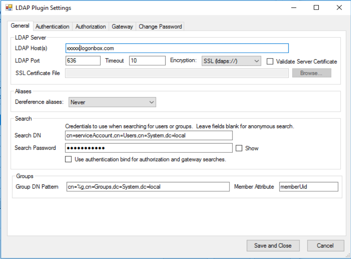 LDAP General Configuration