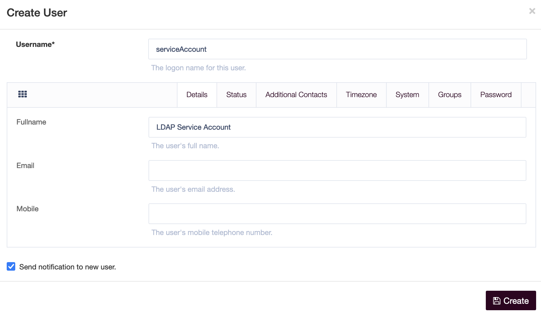 Creating the Service Account