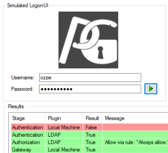 Log in Simulation